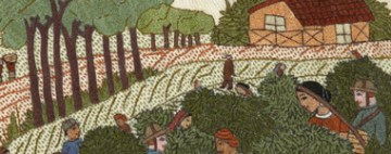"""Tea Harvesting, detail from """"Georgian Times."""" Surayia Rahman design. Photo by Textile Museum of Canada."""