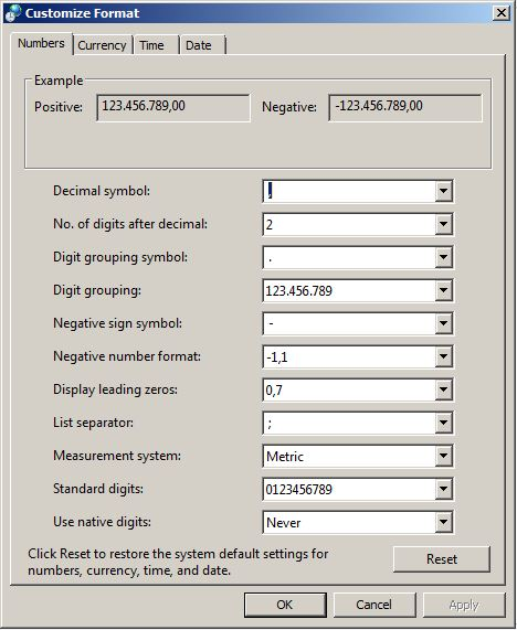 Setting Currency di Excel