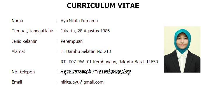 curriculum vitae untuk lamaran pekerjaan