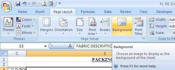 edit backgroun excel