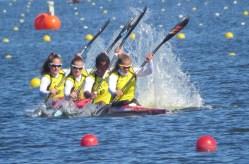 """Das """"Bronze-Boot"""" (K4, 200m, Junioren) mit Pauline auf Position drei."""