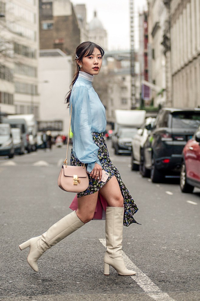 Street Style during day two of London Fashion Week AW 2019. Image shows fashion blogger Kim Bouy Tang