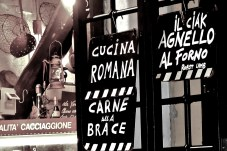 Restaurant boards in Trastevere Rome
