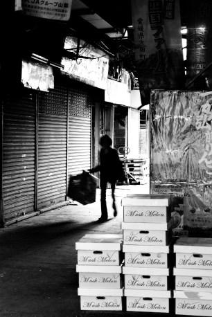 Silhouette in fruit market