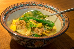 Minced chicken curry with yellow eggplants Nahm