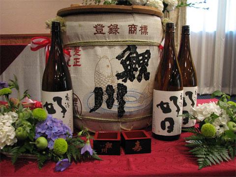"""乾杯酒は純米大吟醸 """"阿部亀治""""、冷やと燗は純米吟醸 """"亀治好日"""""""