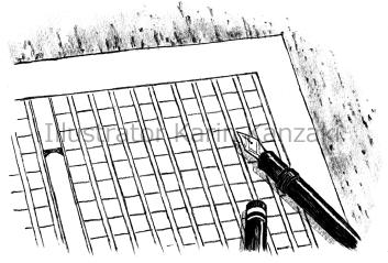 原稿用紙と万年筆 イラスト