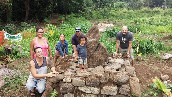 Members of the Ku Pono club help build a Hawaiian garden located near Hale A'o - Courtesy of Winston Kong