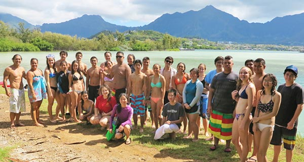 PaCES students after a snorkel survey of the coral reef at the Hawai'i Institute of Marine Biology on Coconut Island - Photo courtesy of Celeste Yee