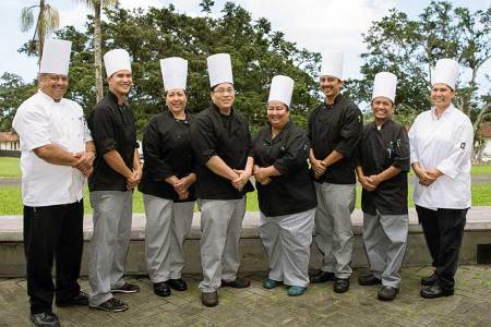HARIETT 2015 graduating class: (left to right) foodservice program coordinator Michael Roth; graduates Aaron Mochizuki, Lisa Hao, Edward Hasegawa, Debora Rios, Jose Hernandez; education assistant Nilo Decasa; instructor Koryn Beamer – Courtesy of Carolynn Yamada