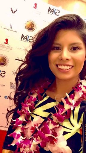 Ka 'Ohana reporter Itzel Contreras Mendez taking a selfie while covering the Pro Bowl Reception at the Top of Waikiki restaurant – Itzel Contreras Mendez