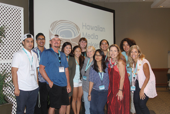 WCC faculty and journalism students with Hawai'i State Film Commisioner Donne Dawson at the Hawaiian Mediamakers Conference – Lucas Bonetti