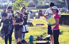 Nanette Napoleon gives a tour of O'ahu Cemetery to WCC students - Leighland Tagawa