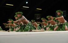 """Austin Rezantes and his Ka Leo O Laka I Ka Hikina O Ka La¯ ha¯lau perform """"Ni¯polo/Aloha Tahiti"""" on Hula Kahiko night –  Courtesy of Merrie Monarch Festival"""