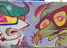 Beak's street art, such as the bird image on the right, can be found on walls throughout O'ahu –Rick Oania-Elam