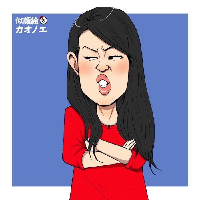 子供がくずっているのに見ているだけの母親の似顔絵イラスト(横澤夏子)