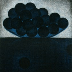 A bunch of blue grapes・一房の青い葡萄 Color Mezzotint・Two plates two colors・Gampi-Paper(Mino) カラーメゾチント・2版2色・雁皮刷り・美濃和紙 image size H9.8cmxW8.9cm ed.30 2011