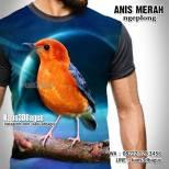 Kaos ANIS MERAH, Kaos BURUNG ANIS, Punglor Merah, Kaos3D Burung, Kicau Mania
