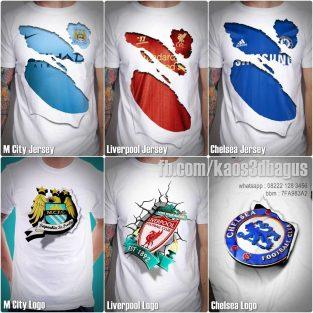 Kaos 3D Bola, Kaos 3D Chelsea, Kaos 3D Bola Manchester City, Kaos 3D Bola Liverpool