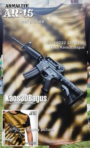 Kaos TEMA TENTARA, Kaos3D Senapan Serbu, Kaos Kopassus, Kaos Pasukan Elite
