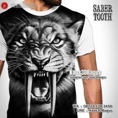 Kaos Gambar Macan, Kepala Macan, Kaos Sabertooth, Harimau Purba, Grosir Kaos3D Murah