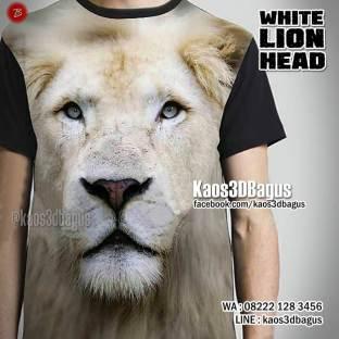 Kaos3D SINGA, White Lion Head, Kaos GAMBAR SINGA, Kaos HARIMAU, Macan, Animal, Wild Animal, Natgeo