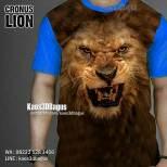 Kaos3D, Kaos BINATANG, Kaos KEPALA SINGA, Harimau, Kaos LION