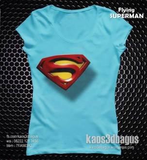 kaos 3d cewek, kaos cewek gambar superman, kaos cewek 3 dimensi, kaos 3d umakuka, kaos superhero cewek