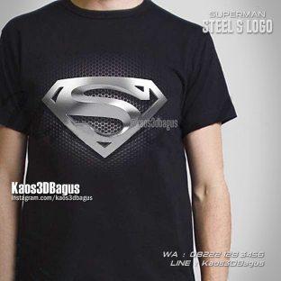 Kaos Logo Superman Warna Silver, Kaos3D S Logo, Kaos SUPERHERO