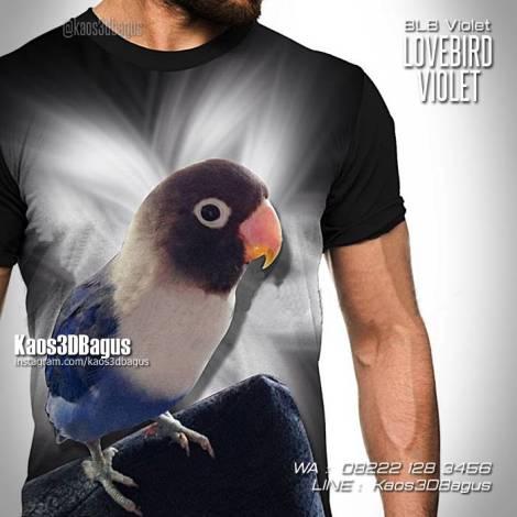 Kaos Klub Burung Lovebird, Kaos BURUNG, Kaos 3D Kicau Mania, Lovebird Violet