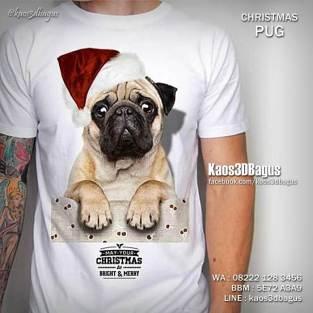 Kaos PUG, Kaos Anjing PUG 3D, Kaos Anak Anjing Lucu, Kaos 3D Anjing Ras, Kaos Tema Natal, Kaos3D, Kaos 3D Bagus, Umakuka
