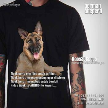 Kaos Gambar HERDER, Kaos Anjing Herder, Kaos German Sheperd Dog, Kaos 3D Bagus, Kaos3D, Umakuka
