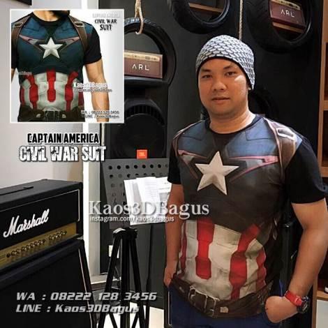Kaos3D Gambar Asli, Kaos 3 Dimensi, Kaos CAPTAIN AMERICA Civil War, Kaos3DBagus