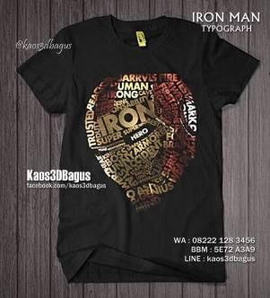 Kaos IRON MAN TYPOGRAPH, Kaos 3D Tema Iron Man, Kaos Superhero Keren, Kaos Iron Man Paling Keren, Kaos3D, Kaos 3D Bagus, Kaos 3D Umakuka