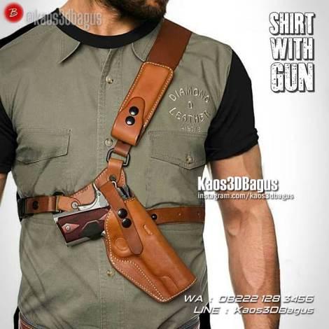 Kaos Senjata, Kaos Gambar Pistol, Kaos 3 Dimensi, Sabuk Pistol Polisi, Kaos3D
