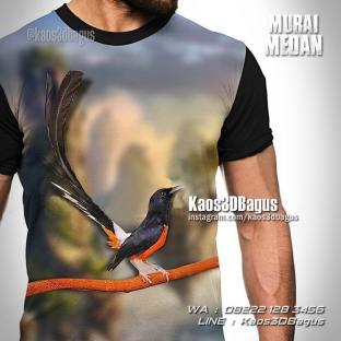 Kaos Gambar Burung Murai, Murai Batu Medan, Klub Burung, Kaos3DBagus, Kaos 3 Dimensi Gambar Burung