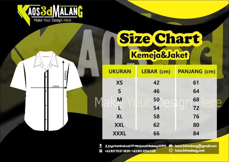 Size Chart atau Jenis Ukuran Kemeja dan Jaket
