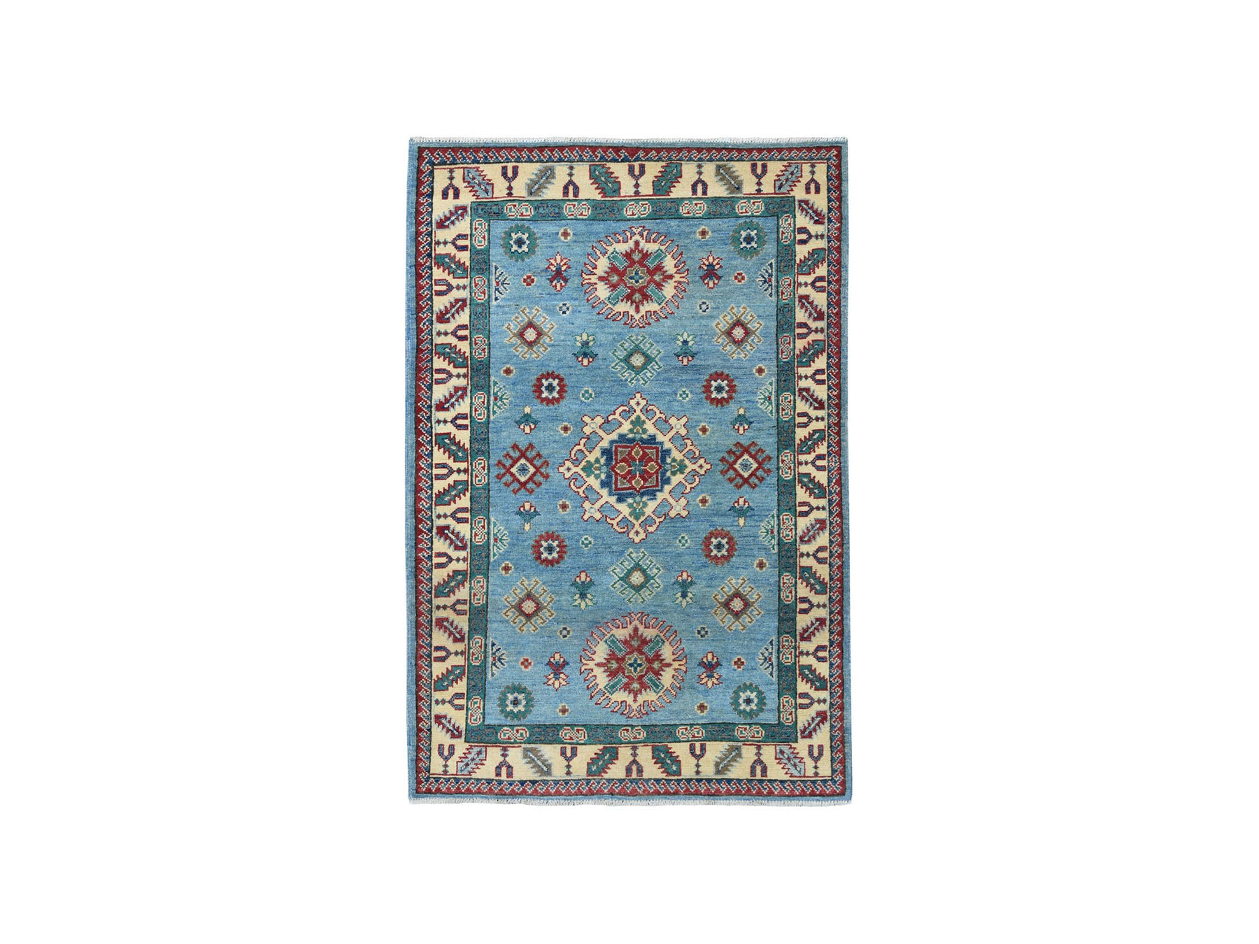 3 4 X5 1 Blue Super Kazak Pure Wool Geometric Design Hand Knotted Oriental Rug
