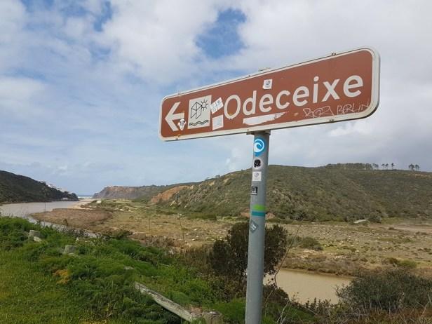Odeceixe strand verkeersbord