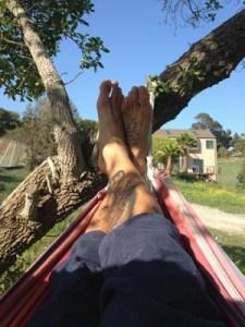 Gabe Kapler in a hammock