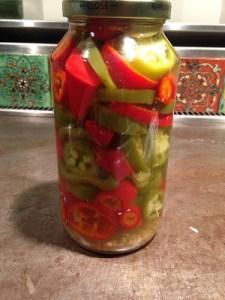 Jar of homemade pickled jalapenos
