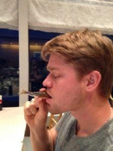 Michael Bowden having dinner in Japan