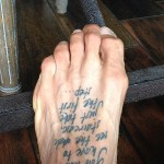Quote tattooed on Gabe Kapler's foot