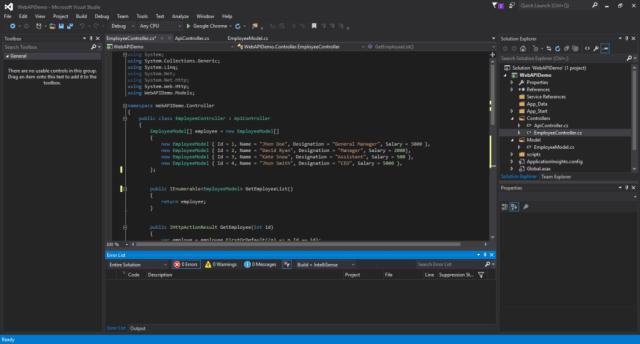 Editor de Visual Studio 2015 Community Edition
