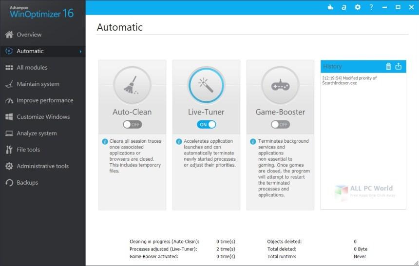 Mantenimiento automático de PC Ashampoo WinOptimizer 16