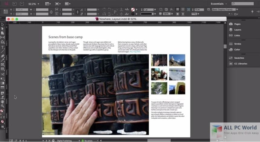 Interfaz de usuario portátil de Adobe InDesign CC 2015