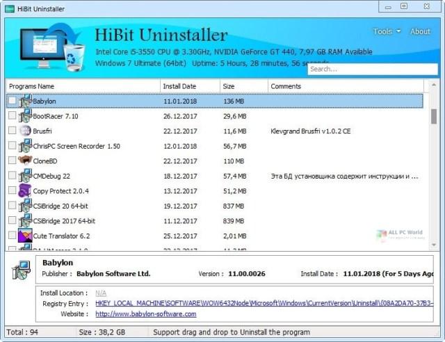 Enlace de descarga directa Hibit Uninstaller 2.5