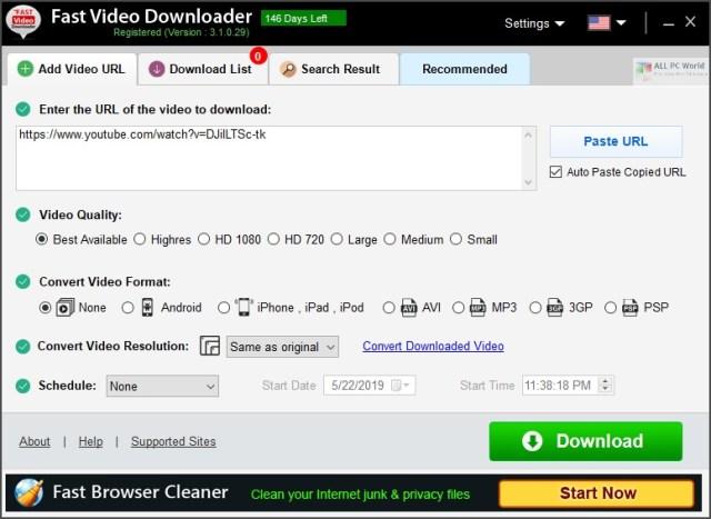 Fast Video Downloader 3.1 Enlace de descarga directa
