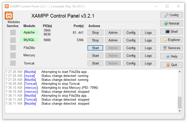Panel de control del servidor XAMPP Apache para Windows