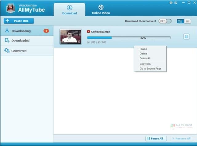 Instalador de Wondershare AllMyTube 7.4.9
